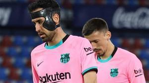 Buquets y Lenglet se lamentan del empate ante el Levante