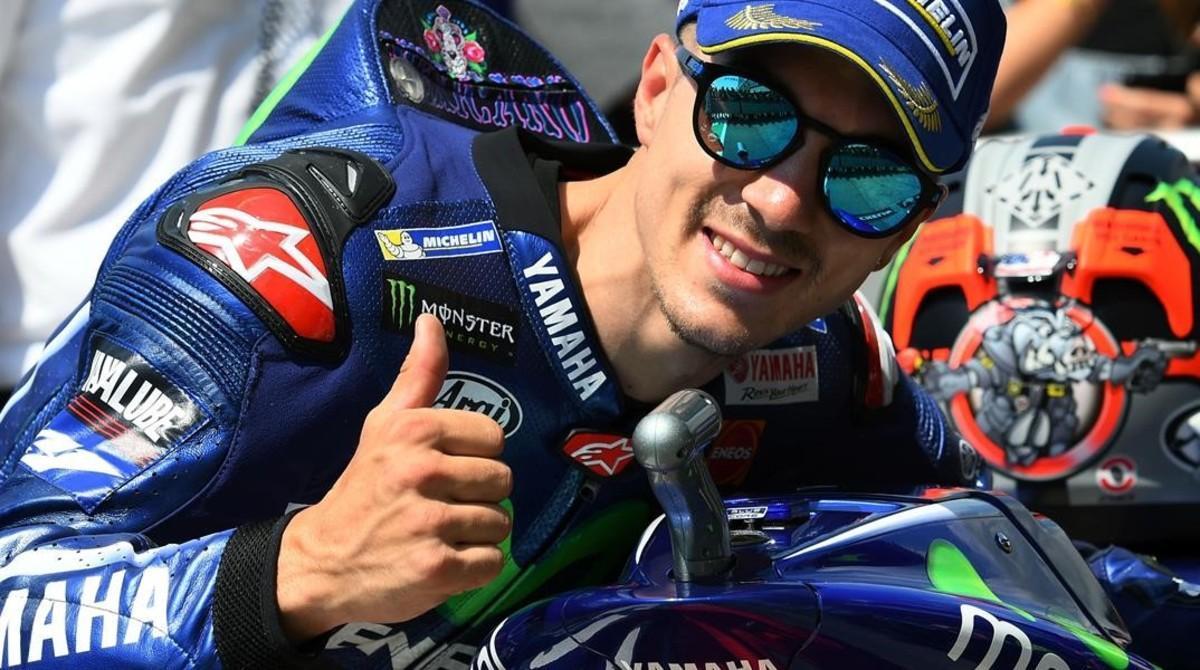Maverick Viñales (Yamaha) celebra su 'pole' de hoy en Mugello (Italia).