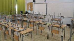 Aula vacía de un instituto de Tarragona, el 29 de mayo.