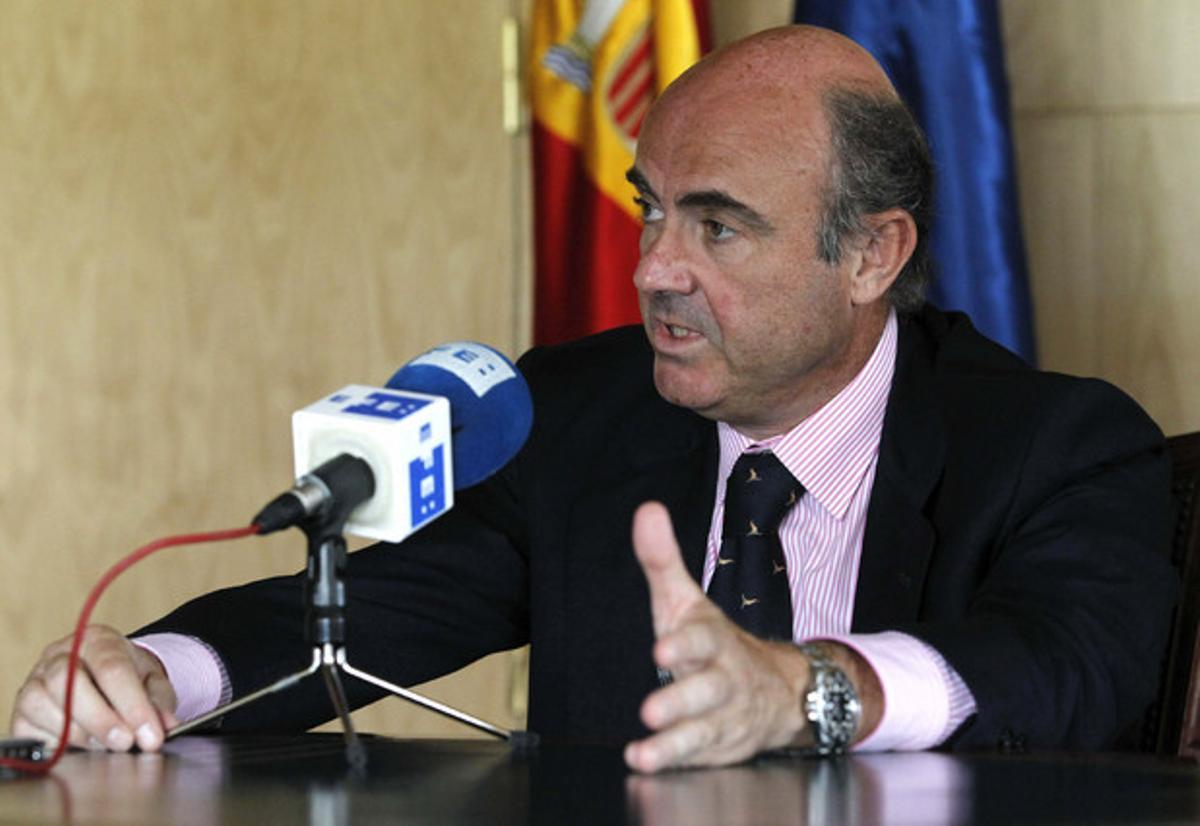 Luis de Guindos, durante la entrevista.