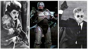 Fotogramas de 'La quimera del oro', 'Robocop' y '¿Teléfono rojo? Volamos hacia Moscú'.