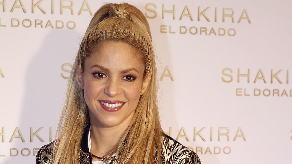 Shakira, en el miniconcierto que ofreció para presentar 'El Dorado' en Barcelona, el pasado junio.