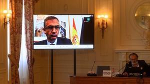 El gobernador del Banco de España, Pablo Hernández de Cos, durante su intervención telemática en el seminario de la UIMP.