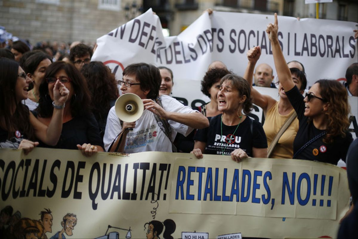 Protesta de funcionarios municipales en Barcelona, en octubre.