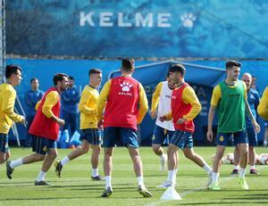 El Espanyol, durante el entrenamiento de este sábado.