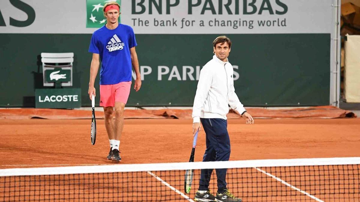 Zverev y Ferrer, en un entrenamiento.
