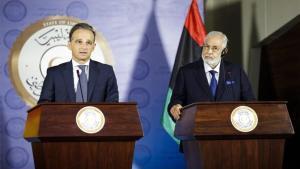 Heiko Maas, ministro de Exteriores alemán junto con su homólogo de Libia.