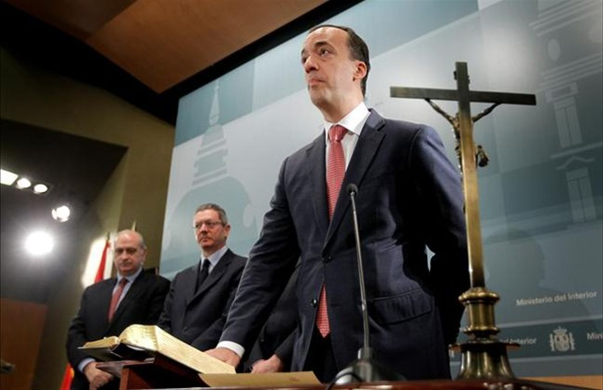 El nuevo secretario de Estado de seguridad, Francisco Martínez, en su toma de posesión, este lunes. JOSÉ LUIS ROCA