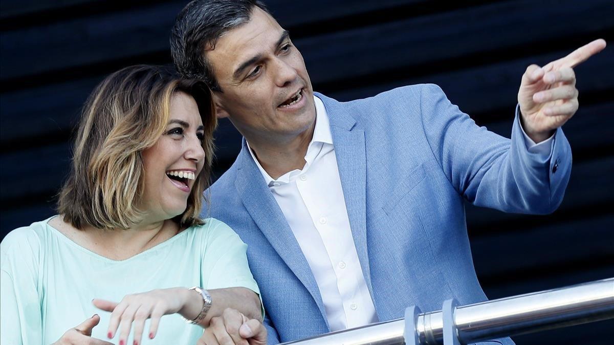 Pedro Sánchez y Susana Díaz, el pasado 22 de mayo, en Sevilla.