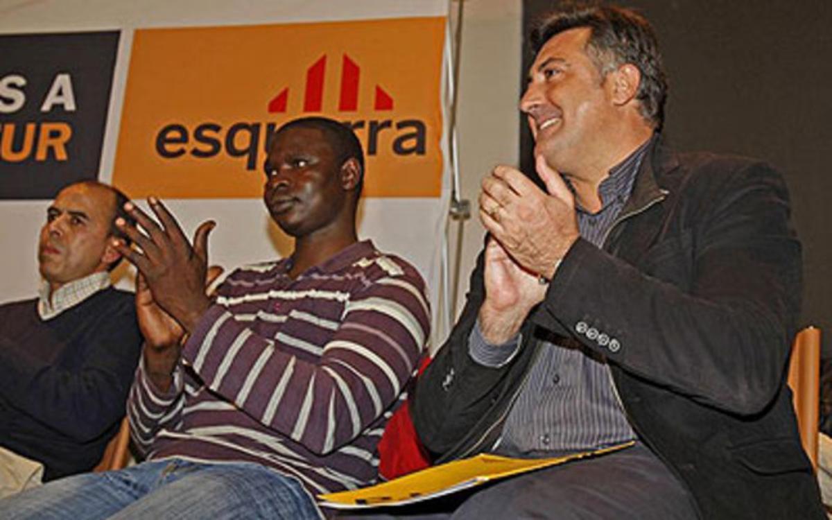 Joan Puigcercós, en el acto de ERC sobre expolio fiscal e inmigración.