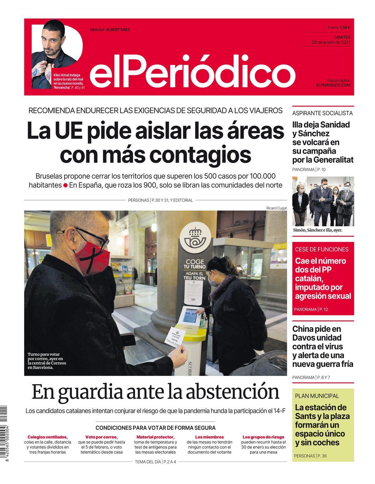 La portada de EL PERIÓDICO del 26 de enero del 2021