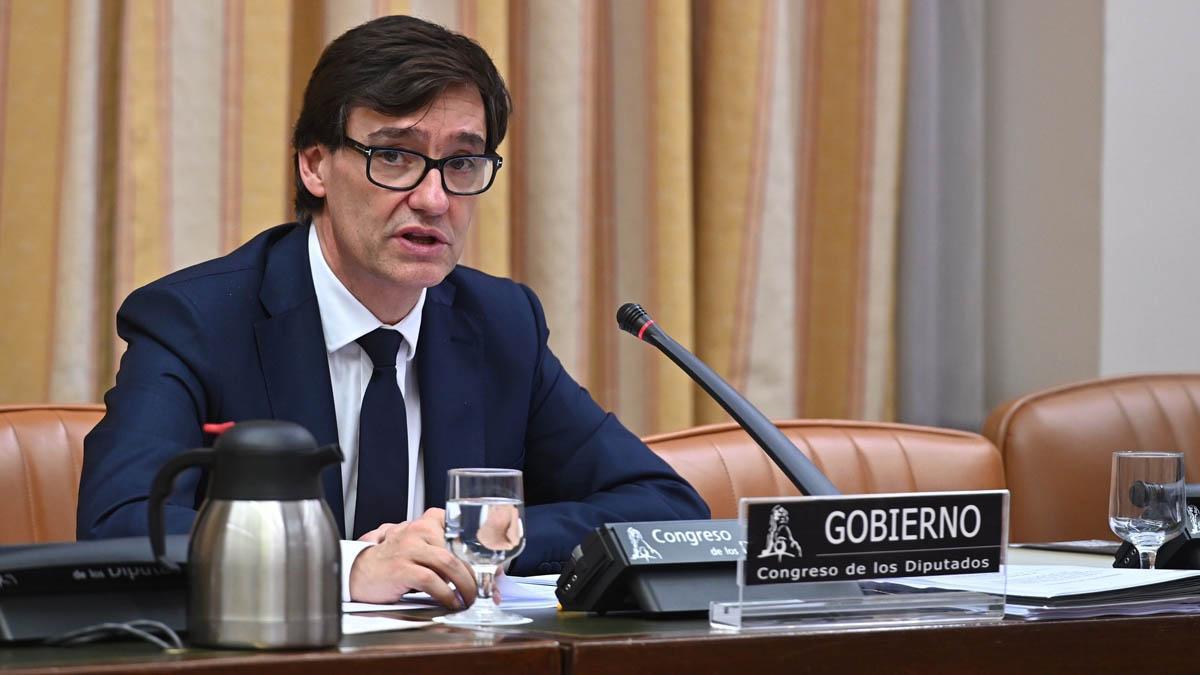 El ministro Salvador Illa, durante su intervención en la Comisión de Sanidad del Congreso.