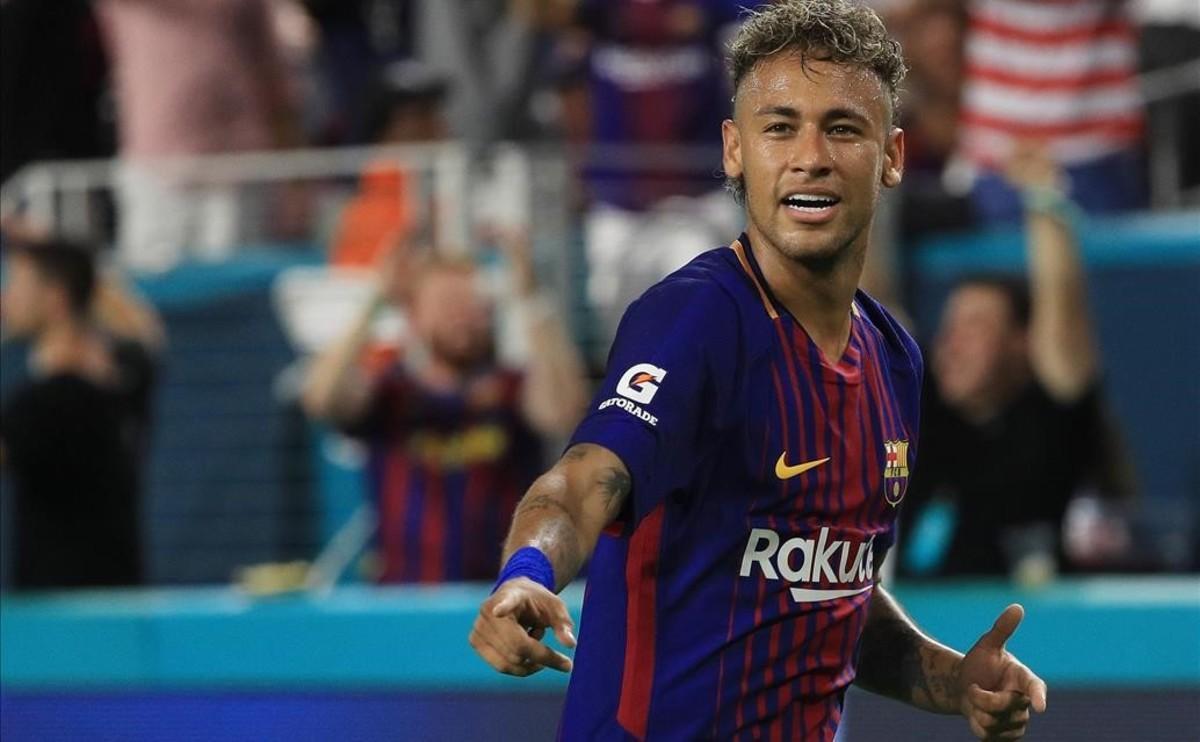 Neymar, durante su último partido con el Barça ante el Real Madrid en Miami.