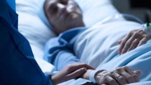 Una paciente en un hospital.