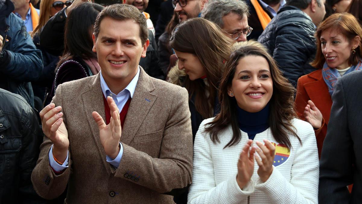 Rivera y Arrimadas, en el mitin de Ciutadans en Tarragona.