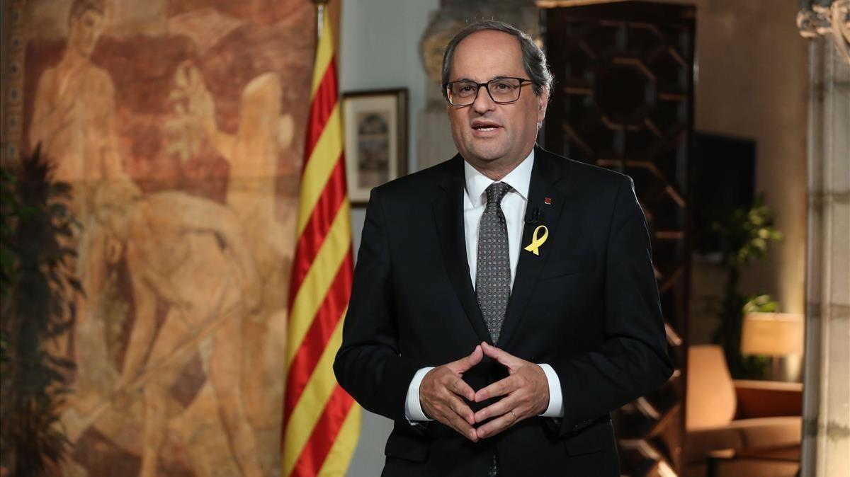 El 'president' Torra durante el mensaje institucional con motivode la Diada Nacional de Catalunya.