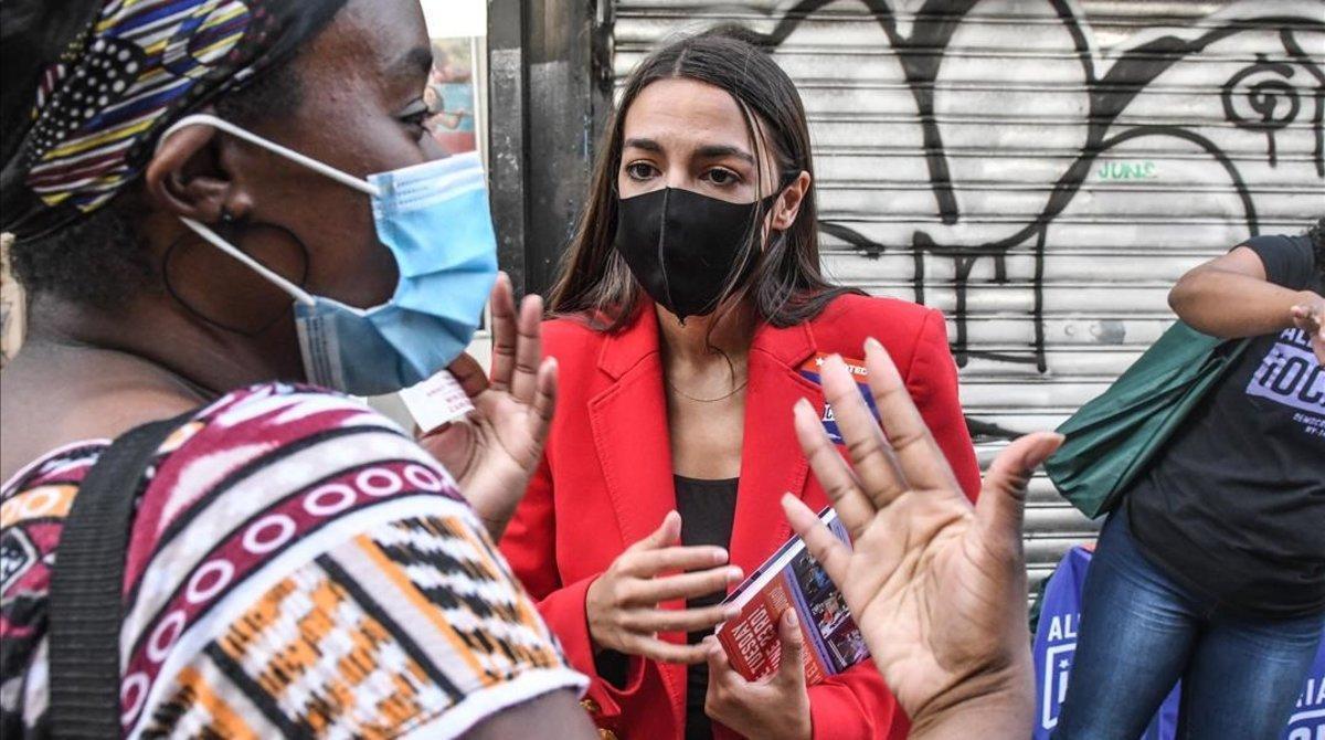La congresista demócrata Alexandria Ocasio-Cortez, ganadora de unas primarias en Nueva York.