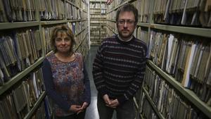 Mercè Vilarrubias y Ángel Puertas, defensores de la educación bilingüe en Catalunya, este martes.