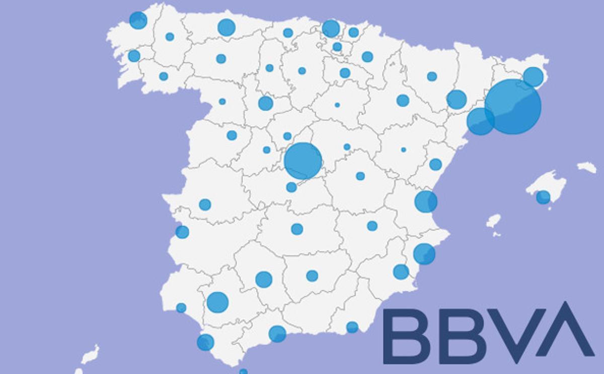 Mapa dels acomiadaments del BBVA per províncies