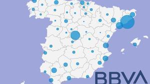 Mapa de los despidos del BBVA por provincias