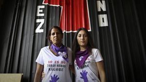 Magaly Rodríguez y Lorena López, miembros del colectivo feminista Andrea y Lunes Lilas.