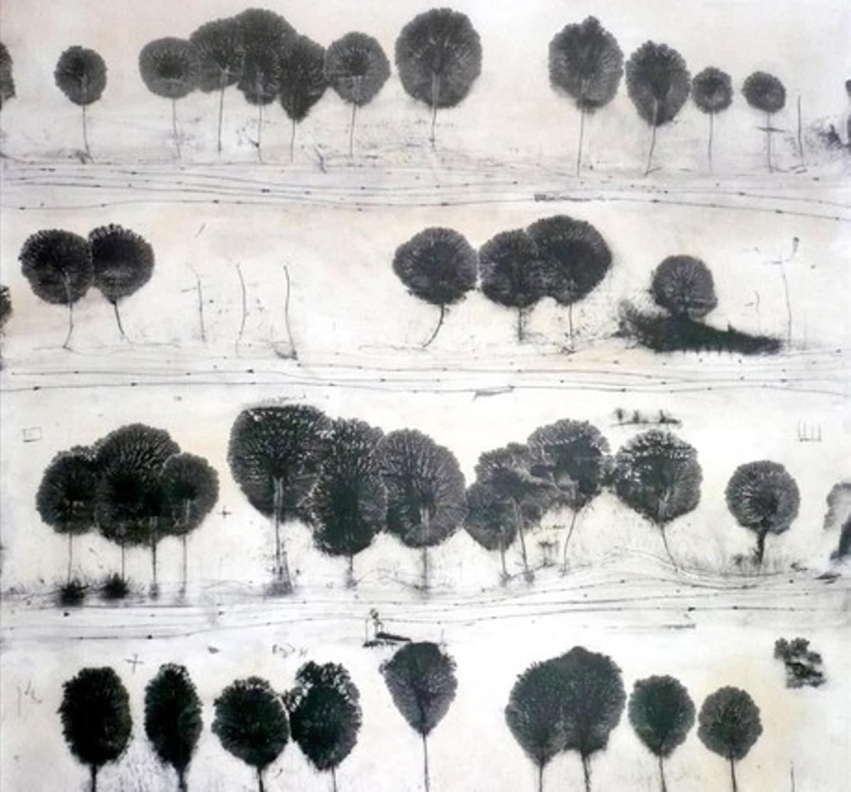 La obra 'L'altre sender', de Manu vb Tintoré, Premio BBVA de pintura Ricard Camí.