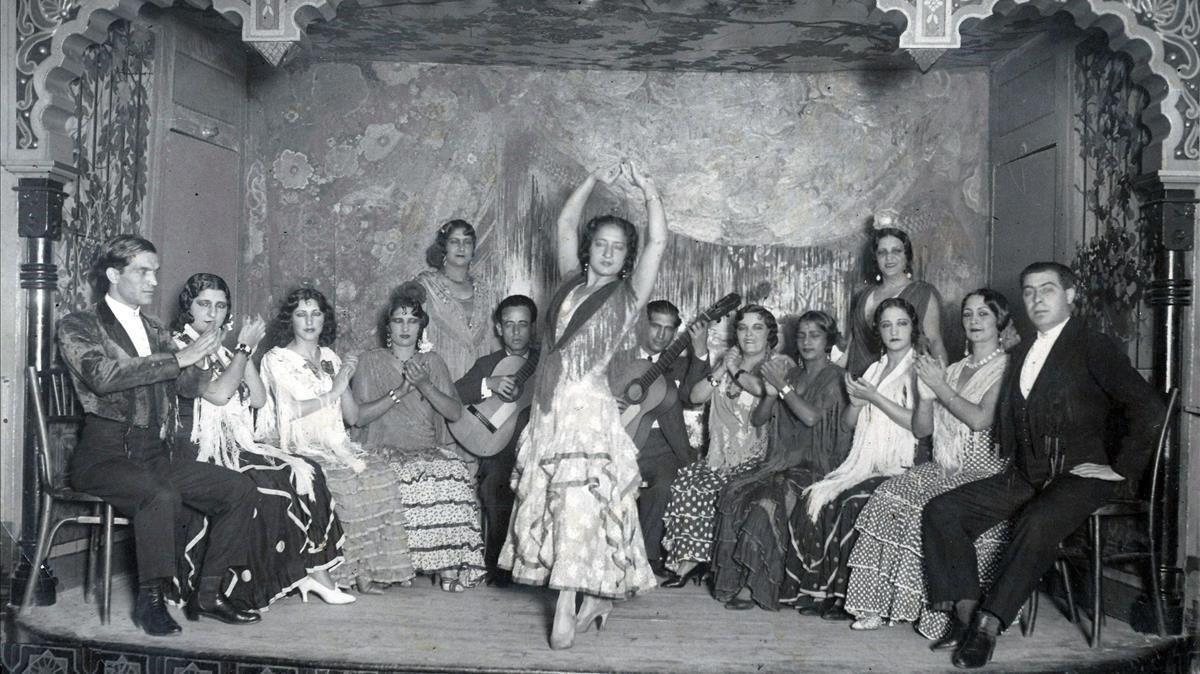Cuadro flamenco del Villa Rosa, en la década de 1930.