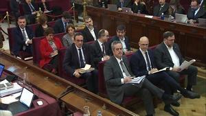 Los líderes independentistas, durante el juicio en el Supremo.