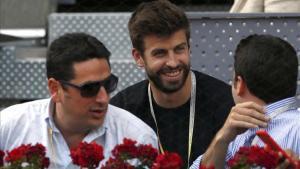 Gerard Piqué, en uno de los palcos VIP de la Caja Mágica durante el Mutua Madrid Open.