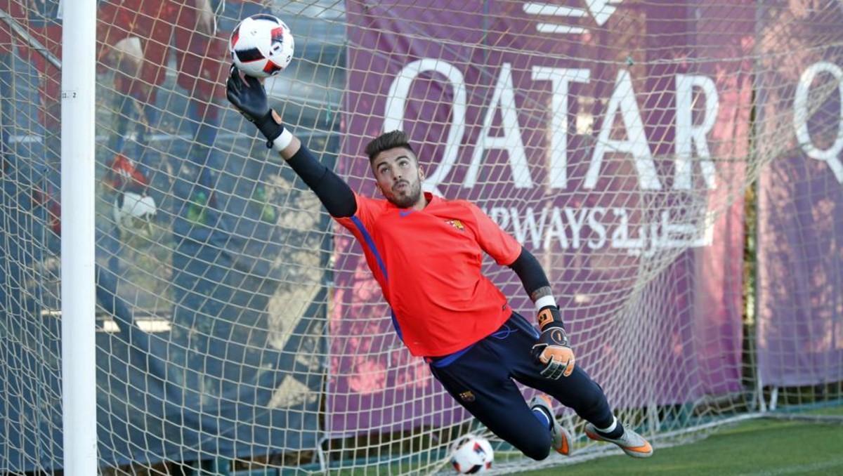José Aurelio Suárez, en un entrenamiento del Barça.