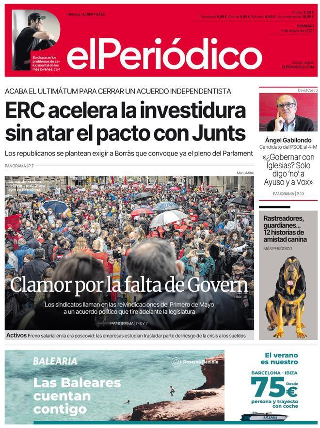 La portada d'EL PERIÓDICO del 2 de maig del 2021