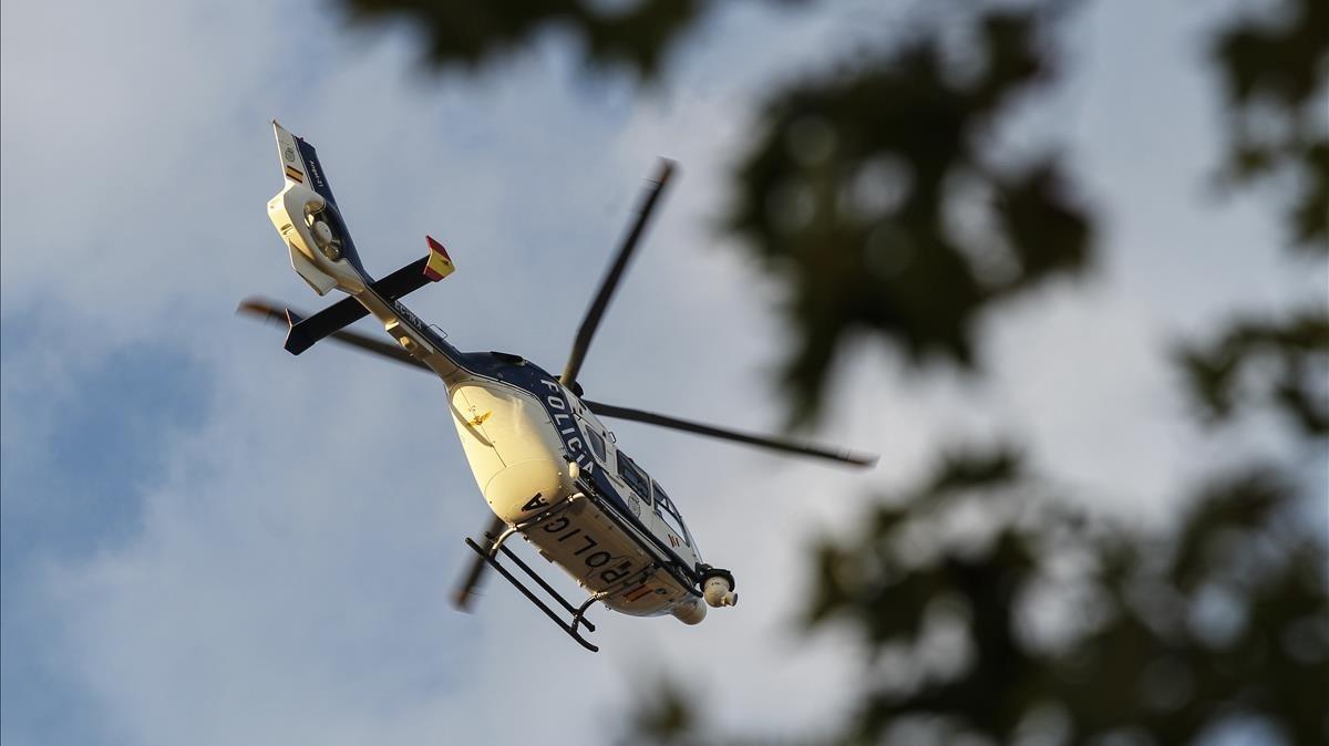 Helicóptero de CNP sobrevolando la manifestación de la Diada del pasado 11-S.