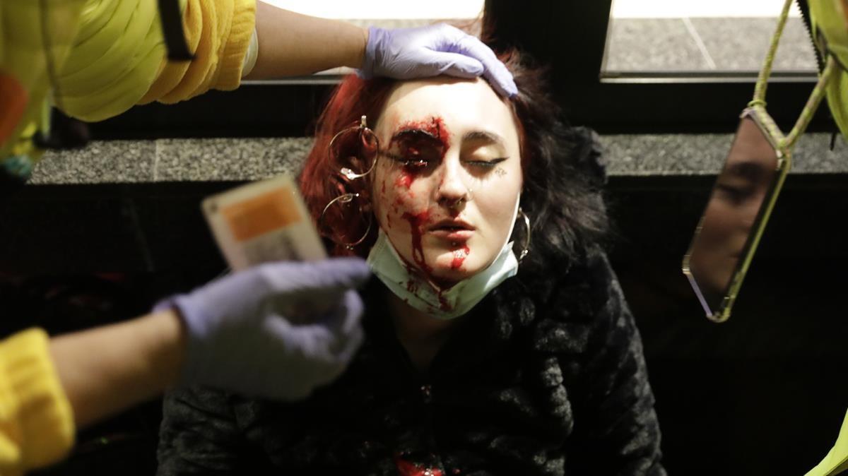 La joven que perdió un ojo durante la manifestación a favor de Pablo Hasél.