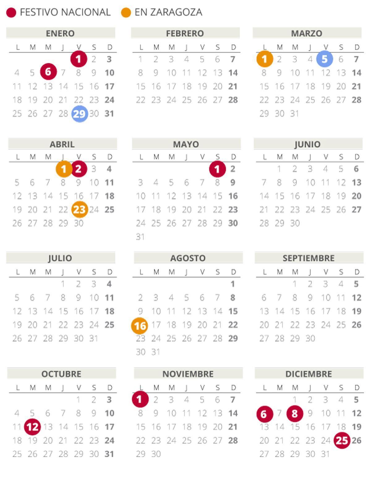 Calendario laboral de Aragón del 2021 (con todos los festivos)