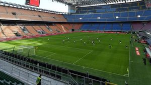 Una imagen del Milan-Genova, disputado a puerta cerrada en San Siro.