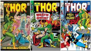 Portadas de tebeos de Thor en las que sale Loki, dibujadas por Jack Kirby.