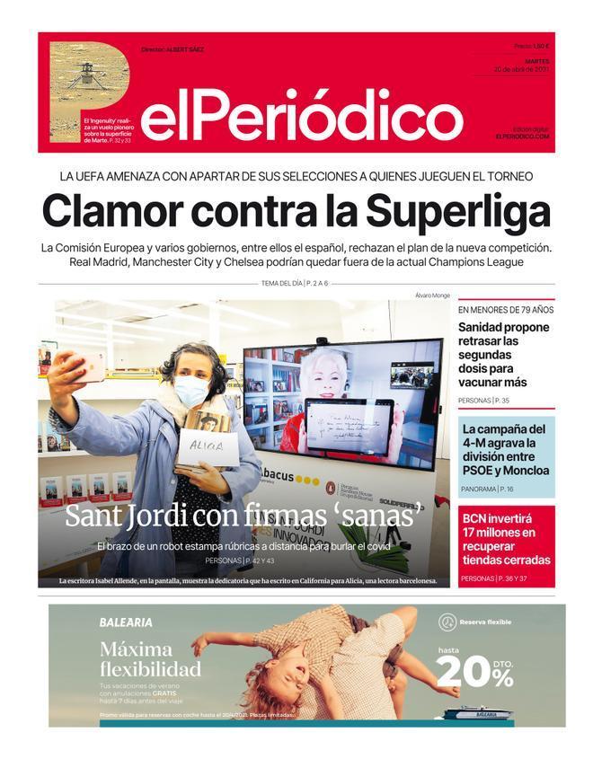 La portada d'EL PERIÓDICO del 19 d'abril del 2021