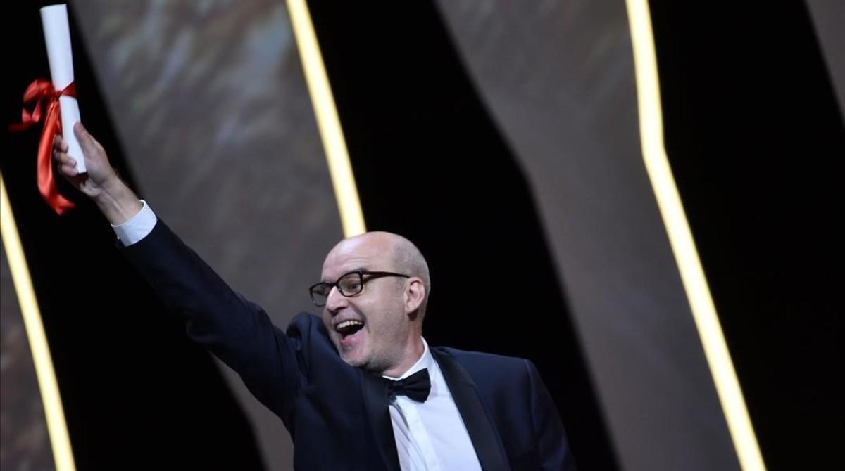 Juanjo Giménez, tras ganar la Palma de Oro en Cannes por 'Timecode'.