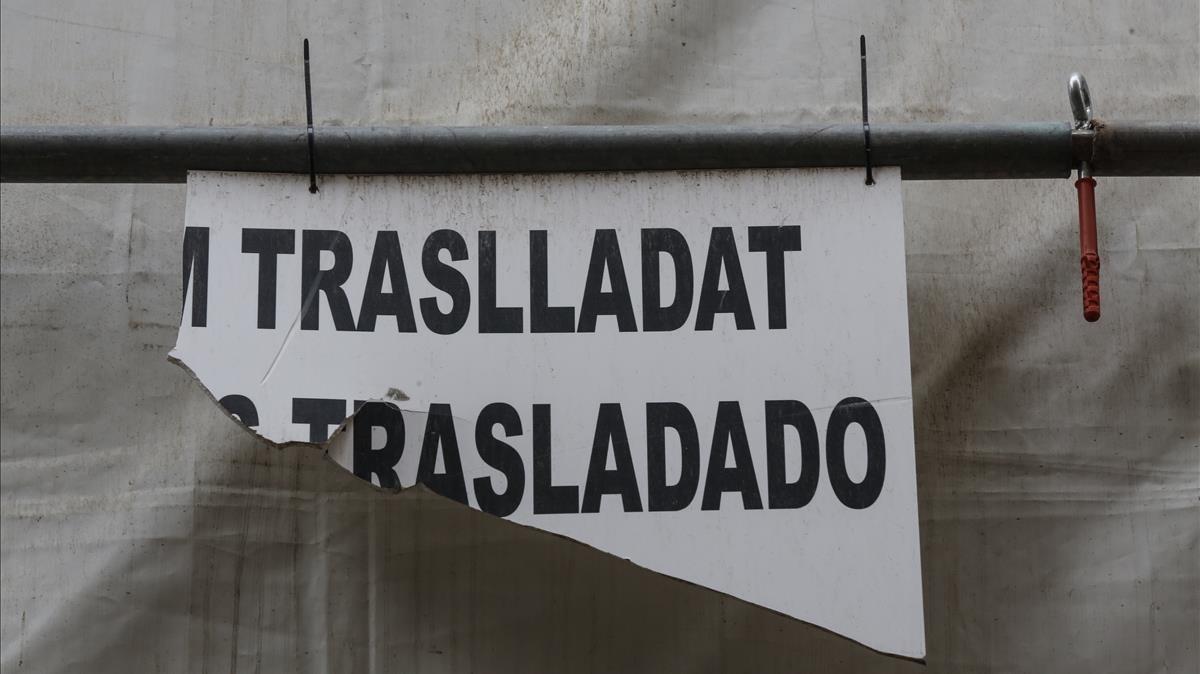 Cartel en una calle de Barcelona.