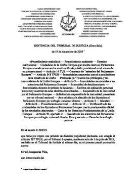 Texo íntegro del texto de la sentencia del TJUE sobre Oriol Junqueras.