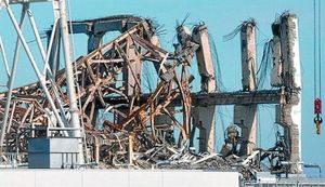 Parte superior del edificio que contenía el reactor número 3 de la central de Fukushima.