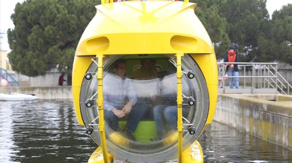 El submarino 'Ictineu', en la depuradora de Sant Feliu de Llobregat.