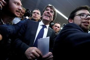 Puigdemont, este martes, en el Club de Prensa de Bruselas.