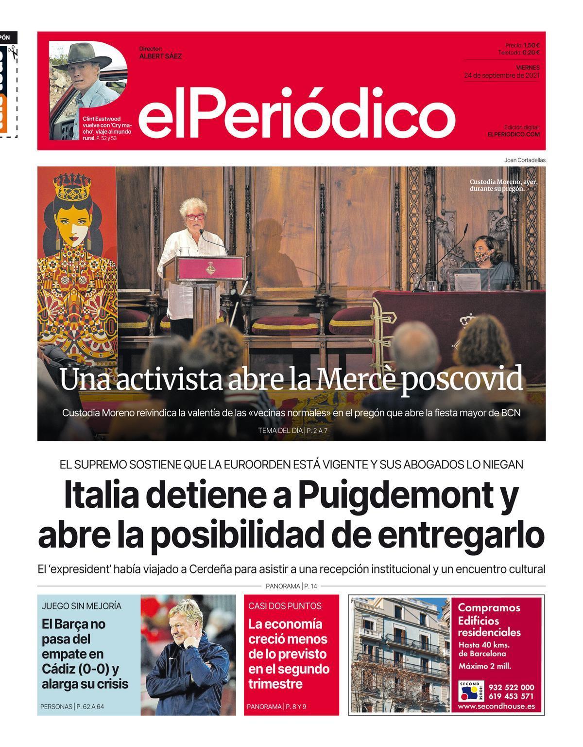 La portada de EL PERIÓDICO del 24 de septiembre del 2021