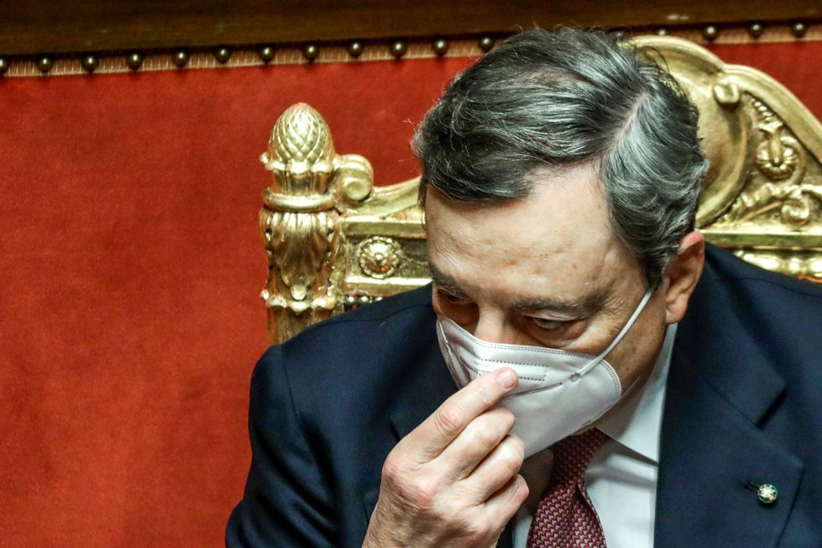 Mario Draghi, durante su discurso de este miércoles en el Senado.