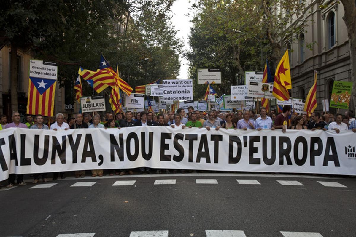 Pancarta con el lema de la manifestación de la Diada.