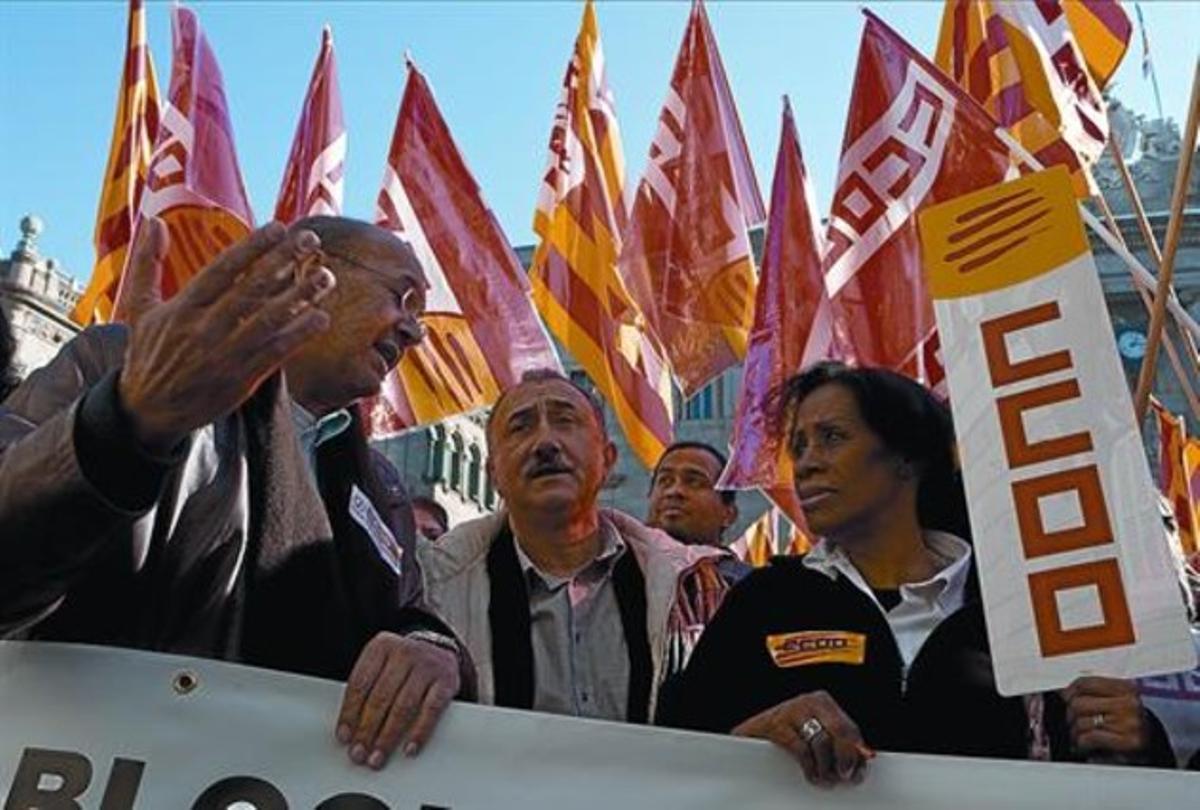 Los líderes de CCOO y UGT de Catalunya, Joan Carles Gallego (izquierda) y Josep Maria Álvarez, ayer.