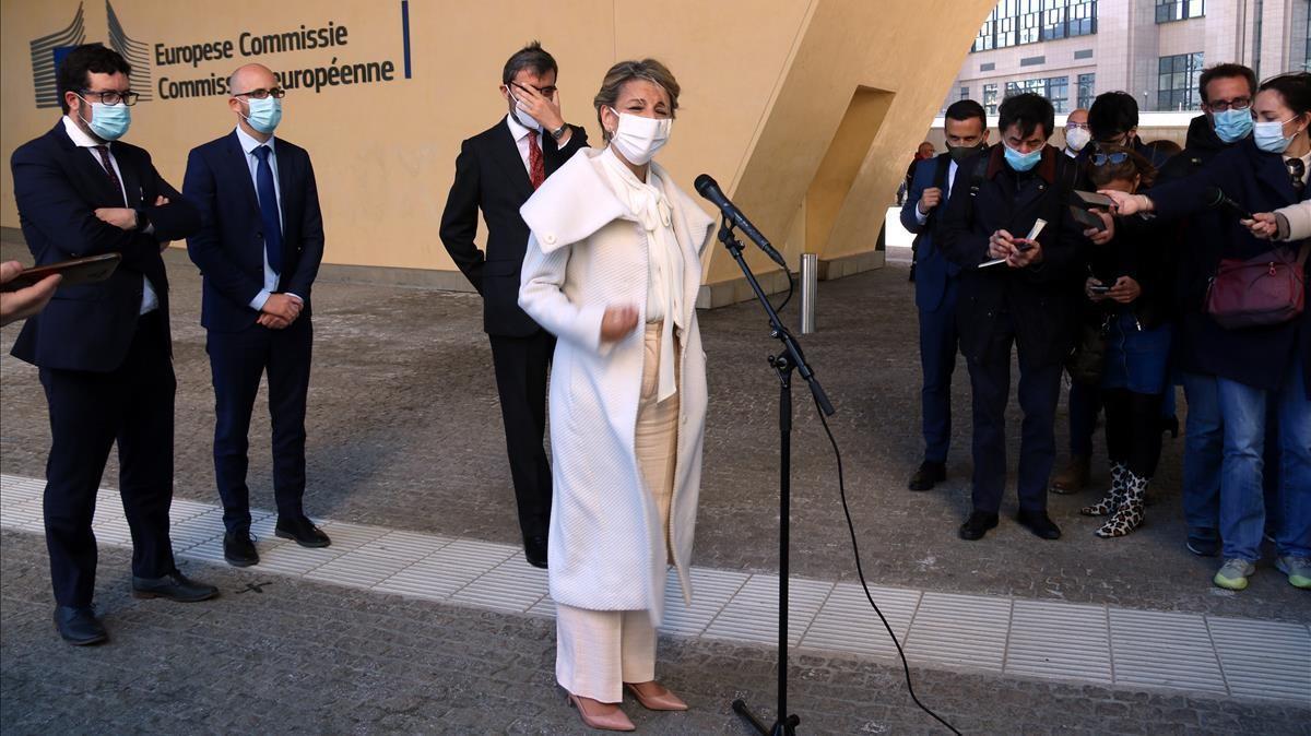 Pla general de la ministra de Treball i Economia social  Yolanda Diaz  fent declracions davant la Comissio Europea Silvia Junyent  ACN