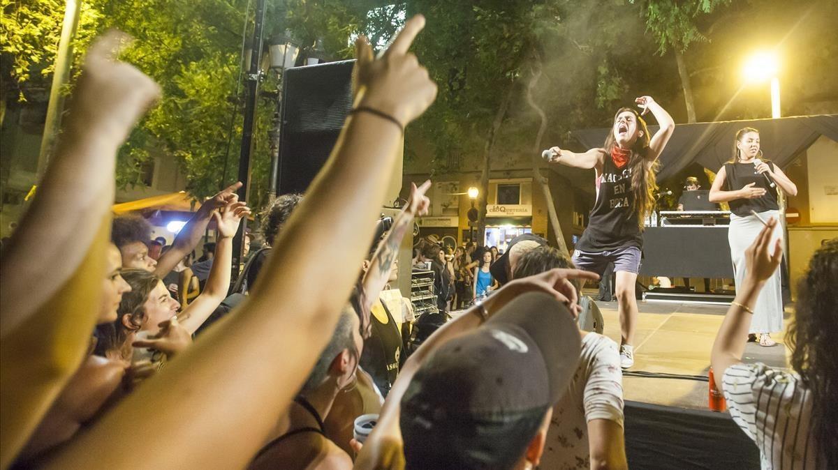 Un momento de la actuación de Machete en Boca en la plaza del Sortidor.