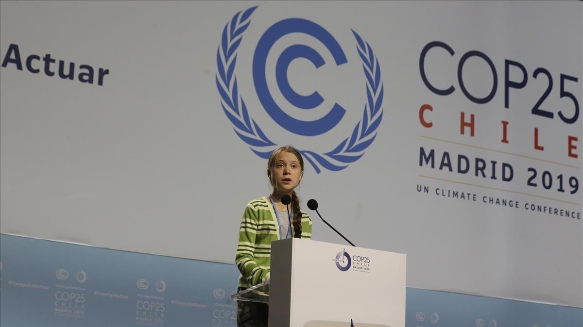 Greta Thunberg, durante su intervención en el plenario de la Cumbre del Clima en Madrid.